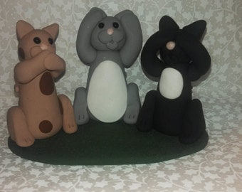 Polymer Clay - Hear No Evil, Speak No Evil, See No Evil Cats