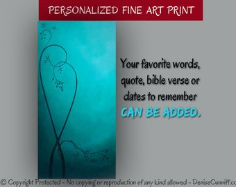 Personalized Quote, Master bedroom wall art, Teal home decor, Turquoise painting - Fine art print, Ocean blue, Aqua artwork, Tree art, Heart