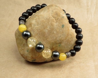 Hematite, Citrine & Calcite Stretch Bracelet - Absorb and Deflect Negative Energy - Reiki Infused Jewelry