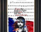 Victor Hugo Les Misérables Quote French Flag digital mixed media  on choice of  music sheet print