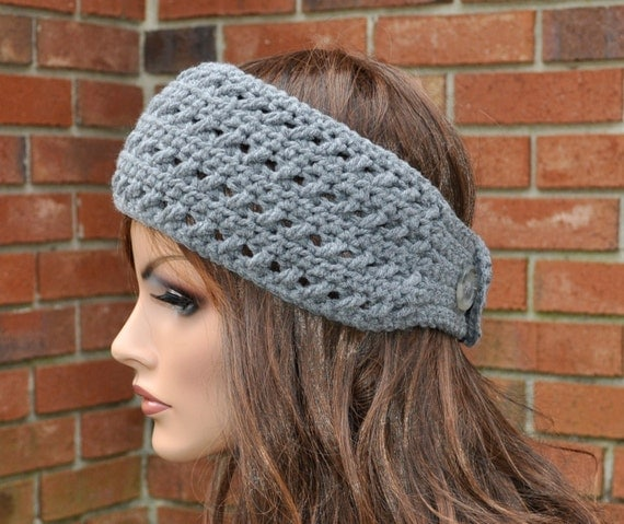Crochet Hair Gray : Ear Warmer, Crochet Headband in Gray, Head wrap. Fall and winter hair ...
