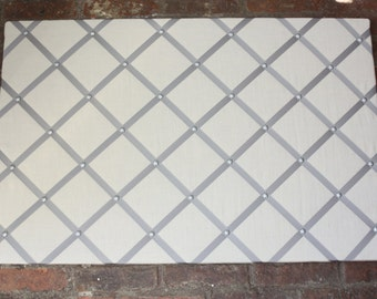 2x3 cream fabric memo board with white ribbon