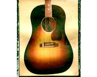 gibson  J45 guitar art print 5 x 7, gift for guy, gift for boyfriend