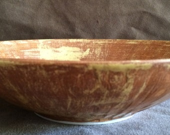 Deeply Hand Carved Mustard and Brown Bowl