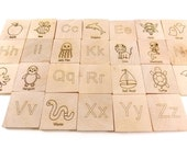 Alphabet Learning Tiles - ABC Flashcards - Wooden learning toys- developmental play - alphabet letters