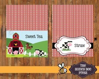 Farm Animal Barnyard Birthday Table Tents - Farm Animal Food Label Cards - DIGITAL FILES
