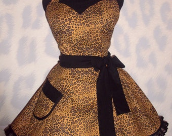 Sexy Leopard Apron Trimmed in Black Circular Skirt with Satin Edged Organza Trimming