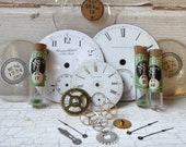 Steampunk Collection, Pocket Watch Parts, Porcelain Watch Faces, Tiny Glass Vials, Gears, Cogs, Shadowbox, Shadow Box, Machine Age, Salvage