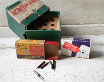 Vintage Office Supplies, Paper Boxes, Fountain Pen Nibs, Dip Pen Nibs, Industrial, Retro, Mad Men, Prop, Props
