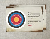 Kids fill-in-the-blank archery thank you cards | Printable archery thank you cards