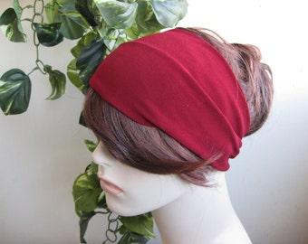 Burgundy - Red Turban Head Wrap, Women's Headband, Turband, Womens Turban Wide Yoga Headband, Fashion Hair Accessories