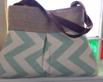 Handbag Purse Tote Bag in Aqua and Tan Chevron
