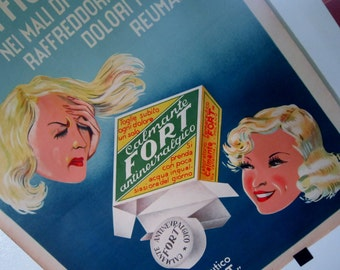 Vintage Italian Advertisement 1950's Postern Retro Pharmacy Aspirin Historical