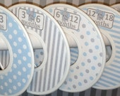 Custom Baby Closet Dividers Organizers Grey and Blue Elephants CD216 Baby Boy Nursery Shower Gift - Clothes Dividers