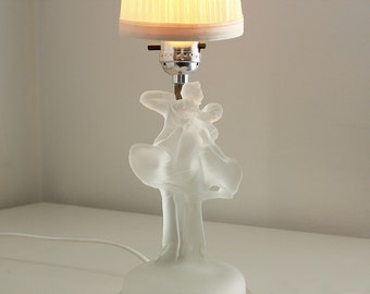 Dancing Couple Frosted Glass Lamp by Sears Roebuck, Vintage 1930s Lighting