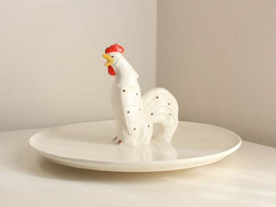 Deco Rooster Hors D'Oeuvres Platter, Rare Czechoslovakian Serving Tray