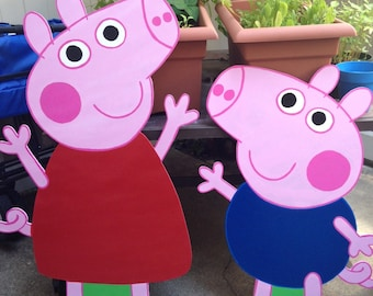 "36"" Peppa Pig and 30"" George - Birthday Party Decor - Wall Decor - Standee - Peppa Pig Standee"