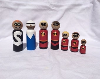 The Incredibles Mr. Incredible, Elastigirl, Frozone, Syndrome, Violet, Dash and Jack Jack hand painted wooden peg doll toys