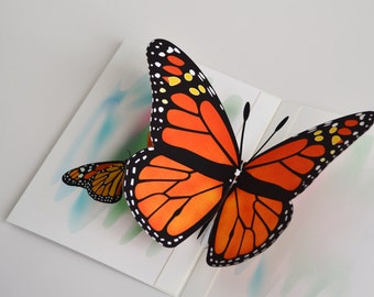Monarch Butterfly pop-up card any occasion card Orange monarch butterfly