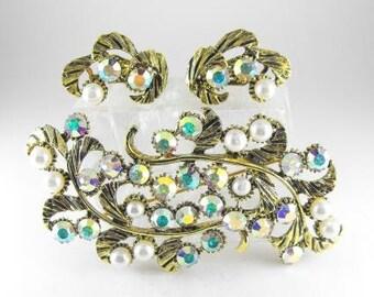 Rhinestone Jewelry Brooch Earring Set
