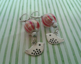 Christmas, Holidays, Round Red and White Marbled Glass Bead with Matte Silver Dangling Bird Earrings.  Matte Silver Leverback Jewelry