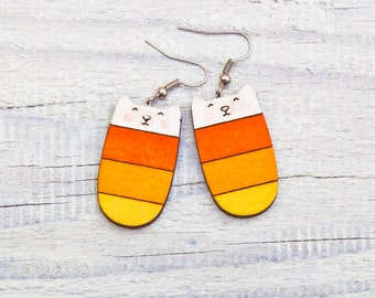 Orange Cat Earrings Wood Candy Earrings Orange Dangle Earrings Orange Long earrings Striped Cat Nickel free dangling jewellery