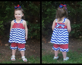 Girls Knot Top and Ruffle Shorts Set with Monogram//Matching Bow Included//Custom Made//LOTS of Fabric Choices