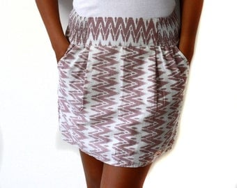 Chevron skirt, zigzag skirt in white and brown with 2 side pockets