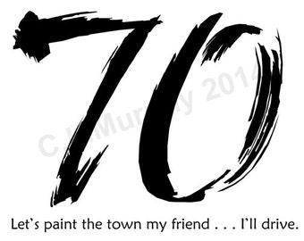 DOWNLOAD 70th Birthday Turning 70 Happy Birthday Friend Birthday Milestone Birthday 70th Humor Birthday 70th Card Birthday Card