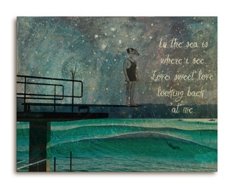 Inspirational art on wood with quote, squirrel on diving board / ocean
