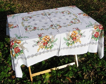 Vintage Floral Tablecloth, Large Rectangular Cotton Tablecloth with Flowers, Vintage Table Linens, Tablecloths, White Tablecloth