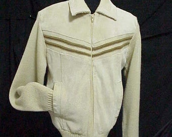 60s Suede & Knit Mod Sweater Jacket  Size Small