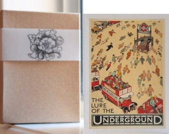 Boxed note cards of vintage London Underground posters