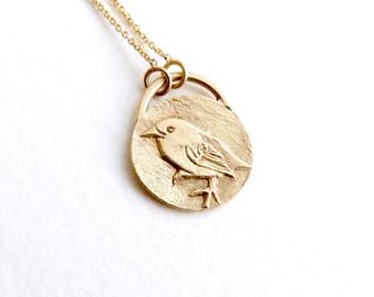 Gold Bird Necklace - Bird Pendant - Animal Charm - 14k Solid Gold