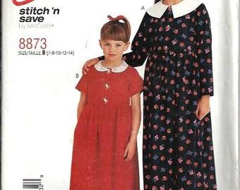 Girls Raised Waist Dress Pattern, McCall's Stitch 'N Save 8873, Size 7-14 UNCUT