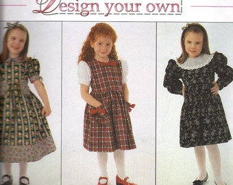 Simplicity 7286 Girls Design Your Own Dress Pattern, Size 3-6, UNCUT