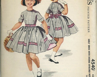 1950s McCall's 4540 Sewing Pattern Girls Dress with Double Attached Petticoat, Size 10 UNCUT
