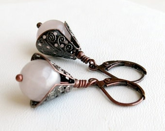 Copper and natural rose quartz earrings