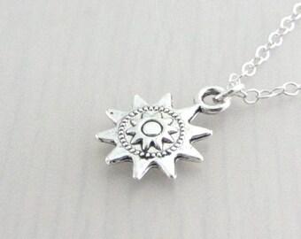 Silver Steampunk Sun Charm Necklace, Sun Pendant, Steam Punk Sun Silver Plated Chain Necklace