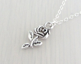 Silver Rose Flower Charm Necklace, Silver Rose Flower Pendant, Rose Flower Charm Pendant, Rose Flower Necklace