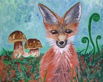 Fox and Bolete - 8x10 Fine Art Giclee Print - Orange - Forest - Woodland - Painting - Green - Summer - Nature - Mushroom - Woodland Wall Art