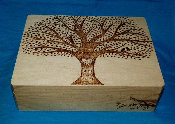 Decorative Boxes Templates : Decorative wooden wedding card box wood burned suitcase