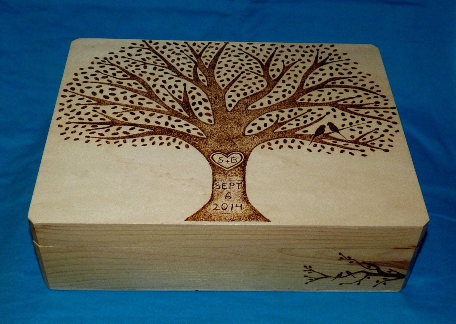 Decorative Wooden Wedding Card Box Wood Burned Box Suitcase – Large Wedding Card Box