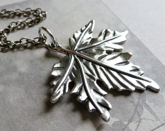 Maple Leaf Necklace / Sterling Silver Leaf Charm Pendant / Autumn / Fall / SimplyJoli