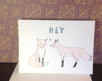 "Fox ""HEY"" Greeting Card (set of 5)"
