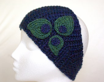 handmade crochet headband with leaves, head wrap, head scarf, ear warmer, Winter fashion, ready to ship, UK seller