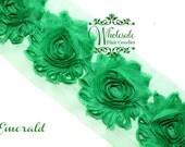 Shabby Flowers - EMERALD GREEN Shabby Rose Trim - Shabby Chic - Shabby Flower Trim - DIY Flowers