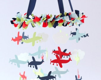 Airplane Nursery Mobile in Blue, Green, Red & White- Baby Shower Gift, Photographer Prop