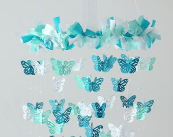 Turquoise Nursery Mobile- Butterflies in Turquoise Aqua & White