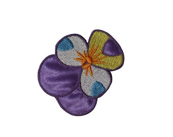 ID #6528 Purple and Spotted Exotic Flowers Iron On Embroidered Patch Applique